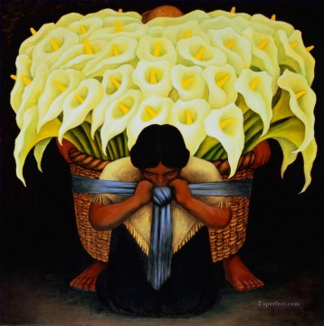 Flowers Painting - The Flower Seller Diego Rivera