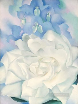 White Rose with Larkspur No2 Georgia Okeeffe floral decoration Oil Paintings