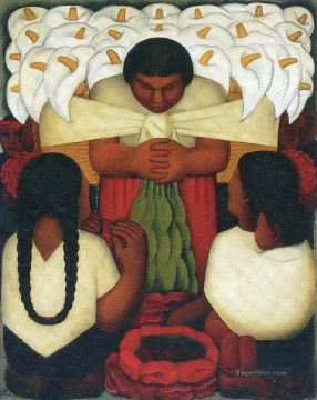 flower festival 1925 Diego Rivera Oil Paintings