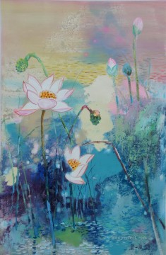 lotus 11 modern flowers Oil Paintings