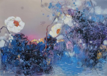 lotus pool 2 modern flowers Oil Paintings