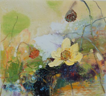 Flowers Painting - lotus pool modern flowers