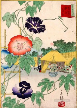 morning glory Utagawa Hiroshige floral decoration Oil Paintings