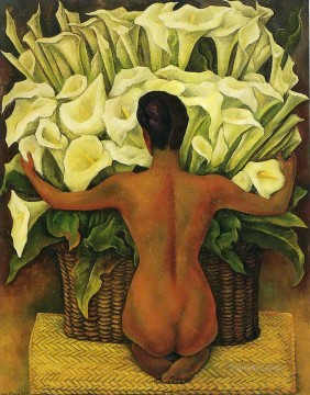 nude with calla lilies 1944 Diego Rivera Oil Paintings