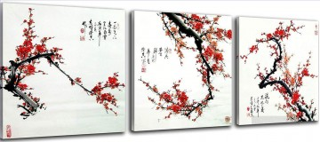 plum blossom with Chinese calligraphy floral decoration Oil Paintings
