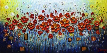 poppies circles floral decoration Oil Paintings