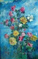 roses with blue background 1960 modern decor flowers