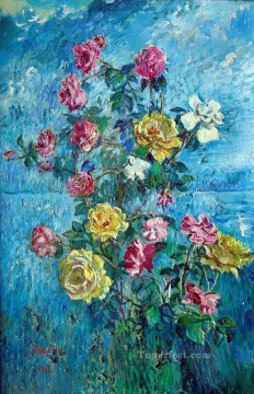 roses with blue background 1960 modern decor flowers Oil Paintings