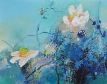 the fun of lotus modern flowers Oil Paintings