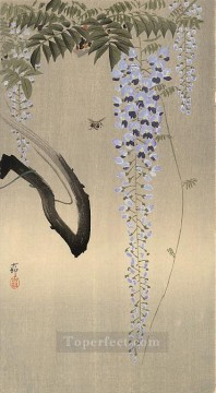 wisteria and bee Ohara Koson floral decoration Oil Paintings