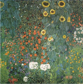 Farmer Garden with Sunflowers Gustav Klimt modern decor flowers Oil Paintings