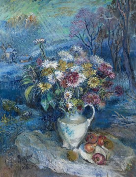 flowering in white vase 1956 modern decor flowers Oil Paintings