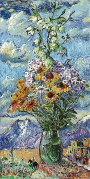 Flowers Painting - bouquet and mountains colorado 1951 modern decor flowers