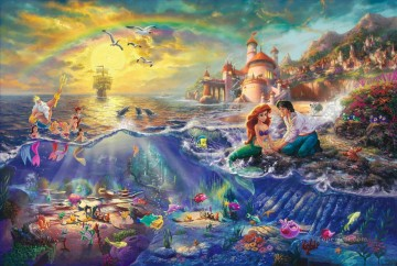 mermaid Painting - Christmas scene with the little mermaid cartoon for kids