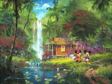 Mickey by pond cartoon for kids Oil Paintings