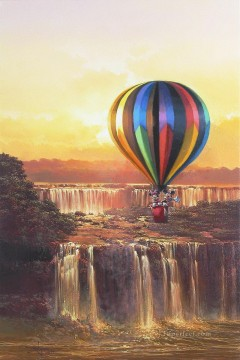 Mickey soaring over the falls cartoon for kids Oil Paintings