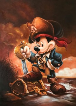 Pirate Mickey cartoon Oil Paintings