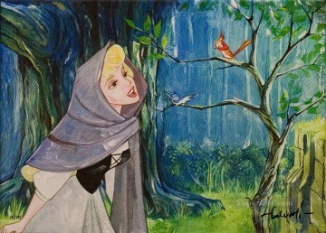 Disney Painting - girl talking with birds cartoon for kids