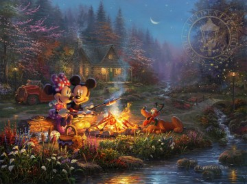 Disney Painting - Mickey and Minnie Sweetheart Campfire Disney