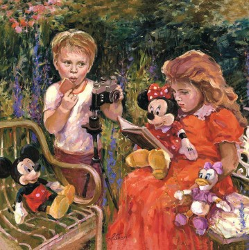 Disney Painting - Reading to Minnie IS Disney