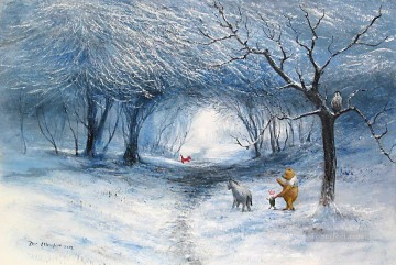 Winter Walk cartoon for kids Oil Paintings