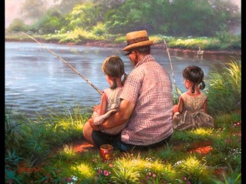 fishing father and daughter cartoon for kids Oil Paintings