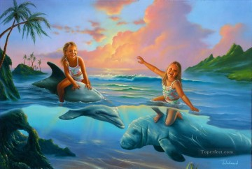 girls on dolphin cartoon for kids Oil Paintings