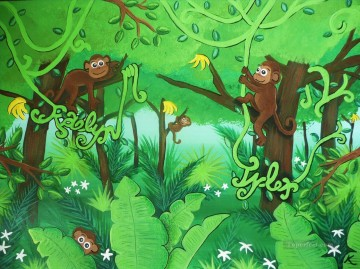For Kids Painting - green monkey cartoon