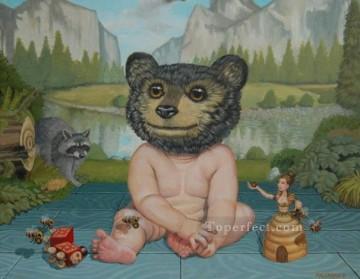 human bear cub cartoon for kids Oil Paintings