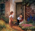 kids pick flowers