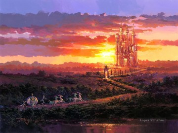 Disney Painting - Castle at Sunset cartoon for kids