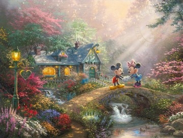 Mickey and Minnie Sweetheart Bridge Disney Oil Paintings