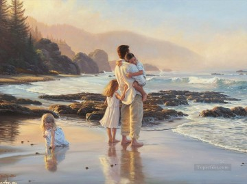 For Kids Painting - father and kids on beach