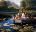kids play at waterlily pond