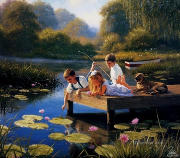 kids play at waterlily pond Oil Paintings