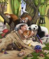 sleeping girl and bear panda monkey cartoon for kids