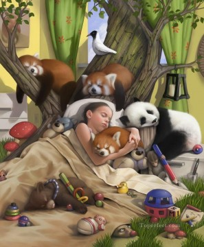 sleeping girl and bear panda monkey cartoon for kids Oil Paintings