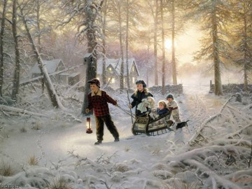 kids and dog around sledge Oil Paintings