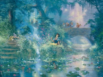 Disney Painting - snow white Picking Flowers James Coleman Disney cartoon for kids