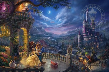 Disney Painting - Beauty and the Beast Dancing in the Moonlight Disney