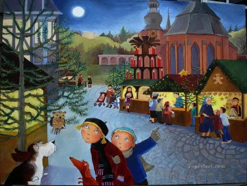 kids in Christmas Oil Paintings