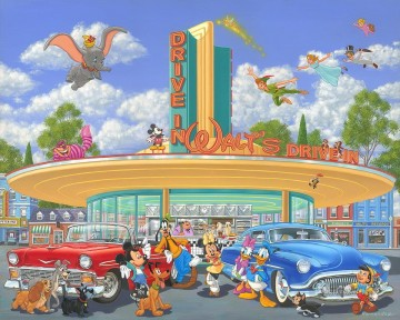 walts drive in cartoon for kids Oil Paintings