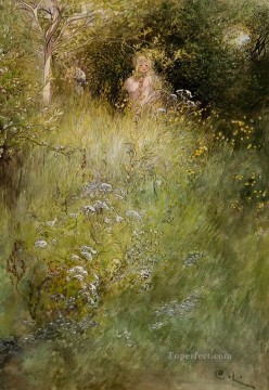 Fairy Painting - A Fairy Or Kersti And A View Of A Meadow Carl Larsson for kid