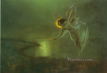 Fairy Painting - Spirit of the Night angel landscape John Atkinson Grimshaw for kid