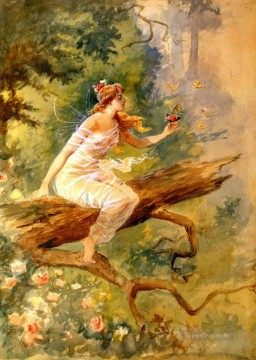 Fairy Painting - wood nymph 1898 Charles Marion Russell fairy