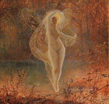 Fairy Painting - Autumn angel landscape John Atkinson Grimshaw for kid