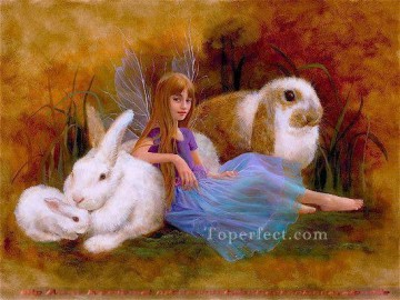 Fairy Painting - fairy and rabbits for kid