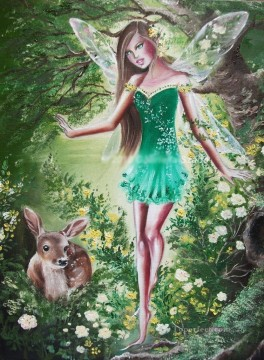 Fairy Painting - innocence of fairy and deer for kid