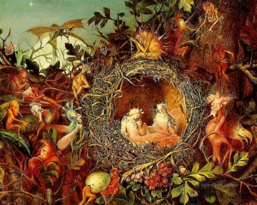Fairy Painting - John Anster Fitzgerald Fairies in a Nest for kid