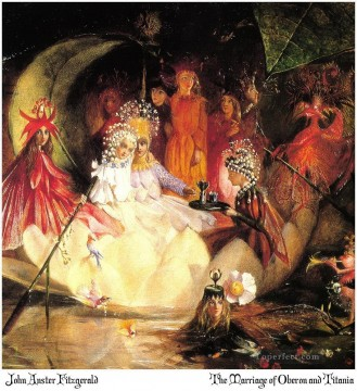 Fairy Painting - John Anster Fitzgerald the marriage of oberon and titania for kid
